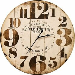 Wall Clock 23 2' Large Distressed Vintage Rustic Shabby Chic Farmhouse