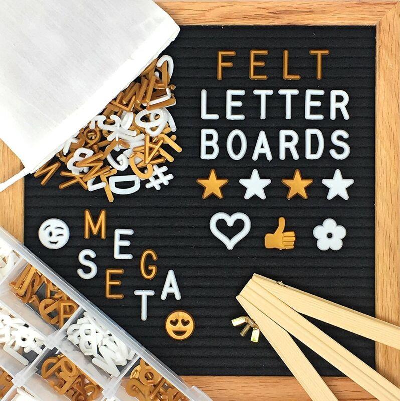 "Changeable Felt Letter Board MEGA SET 700+ White & Gold Letters 10""x10"" Organize"