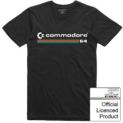 Commodore 64 T Shirt Offically Licenced Vintage Computer Multi Colour Logo