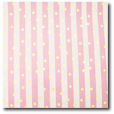 "20 Ft Pretty Soft Pink Stripe Gift Wrap w/ Foil Gold Dots - 30"" wide - 50 Sq Ft"
