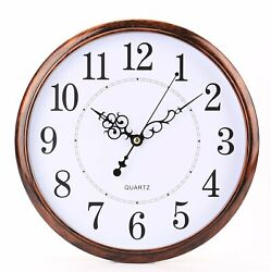 Large Numeral Retro Round Clock Non Ticking Silent Quality Quartz Wall HomeDecor