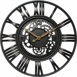 Gears 15 Large Brushed Oil Rubbed Bronze, Rust Wall Round Wall Clock, Quartz