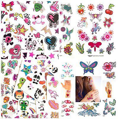 Einmaltattoo Set 200 Tattoos für Mädchen Geburtstagsparty Kinder Herzen Blumen