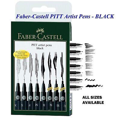 Faber Castell Pitt Artist Pens Black Drawing Artist Pen XS,C,S,F,M,B,SC,SB,1.5
