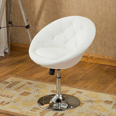 Adjustable Pedestal Vanity - White Pedestal Swivel Chair Faux Leather Accent Height Adjustable Vanity Stool