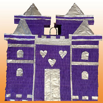 Princess Castle Piñata Pull string Hit including an optional pinata stick purple