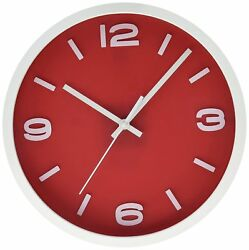 12 Inches Elegant Red Round Shape Wall Clock,Silent Non Tick Tok sweep, Red