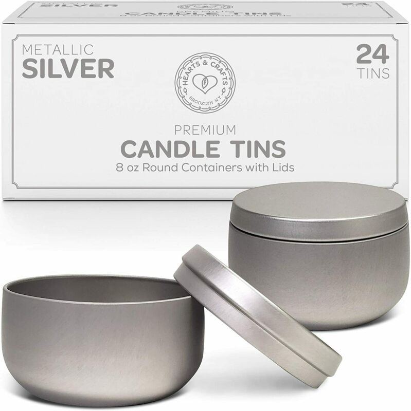 Hearts & Crafts Candle Tin Cans with Lids - 8-oz. Silver Tin Cans, 24-Pack