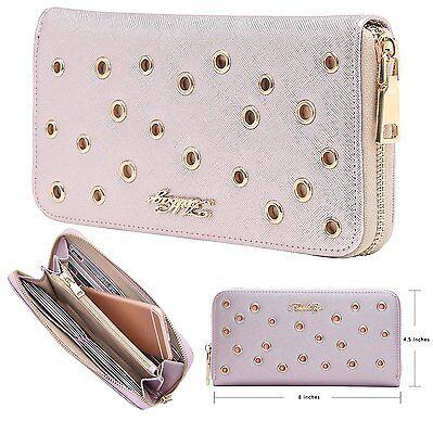 Aitbags Grommet PU Leather Wallet Women Clutch Card Holder Case Ladies Long