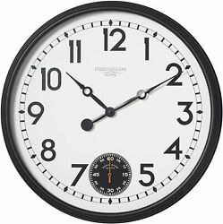 Wall Clock 29 2.5' Large Analog Seconds Subdial Modern Contemporary Sleek Black