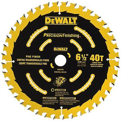 Dewalt 6.5d 40 Teeth Precision Cutting Finishing Carbide Saw Blade Dw9196