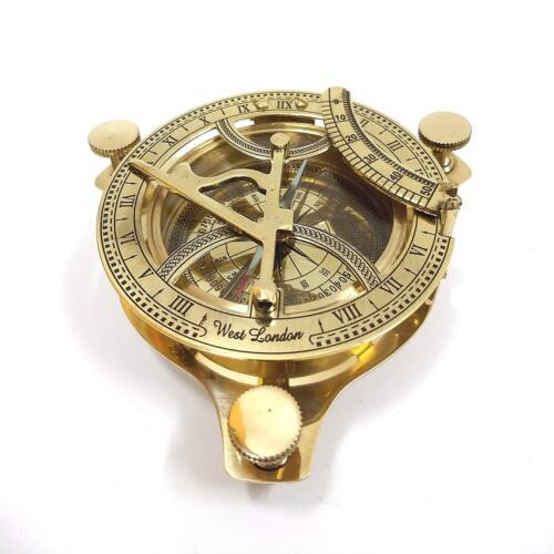 Solid Brass Sundial Working Compass Handmade Nautical Navigation Compass Gift