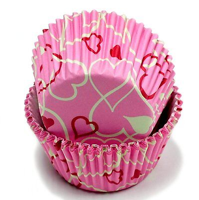 NEW Chef Craft 100 Count (2 packs) Fancy Pink Heart Design Cupcake Liners #21814