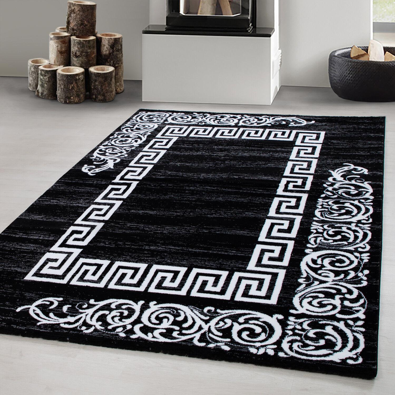 Teppich modern Designer Wohnzimmer Versace Muster Barock Motiv Schwarz Grau Weiß