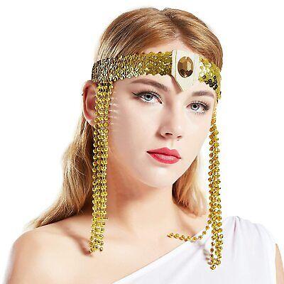Egyptian Cleopatra Costume Accessories Headband Beaded Pharaoh Costume Headpiece