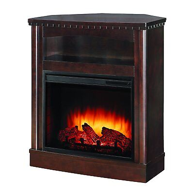 Pleasant Hearth Compact Wall/Corner Media Fireplace, Mocha Finish TV Stand