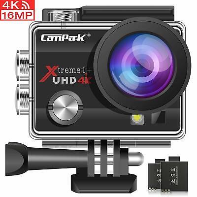 """Campark Camara WIFI 4K ULTRA HD deportiva tipo 2"""" sumergible acuática+accesorios"""