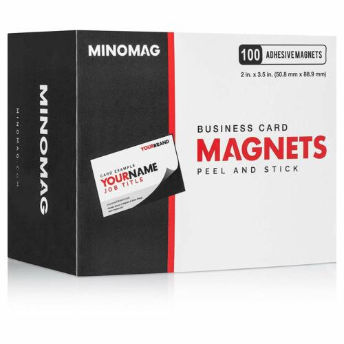 Minomag Business Card Magnets | Peel & Stick Self Adhesive Backings (Box of 100)