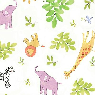 Safari Animals Lion Elephant Baby Toss White 100% cotton Fabric by the yard - Baby Lion