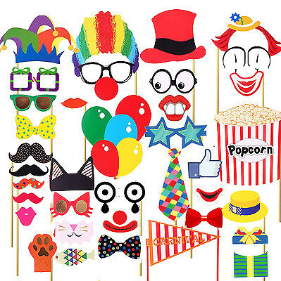 36PCS Circus Clown Birthday Party Masks Photo Booth Props Mustache US SHIP](Mustache Party)