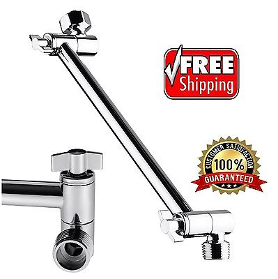 Bathroom Wall Mount Pipe Extension Shower Head Arm 9.5 Inch Adjustable -