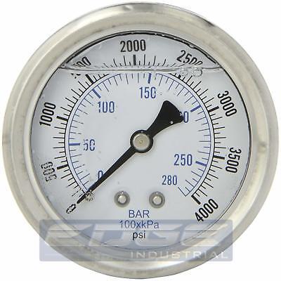 Liquid Filled Pressure Gauge 0-4000 Psi 2.5 Face 14 Back Mount Wog