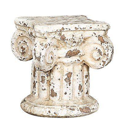 Distressed Column Pedestal Cream Terra Cotta Flower Pot Stand Garden Patio -
