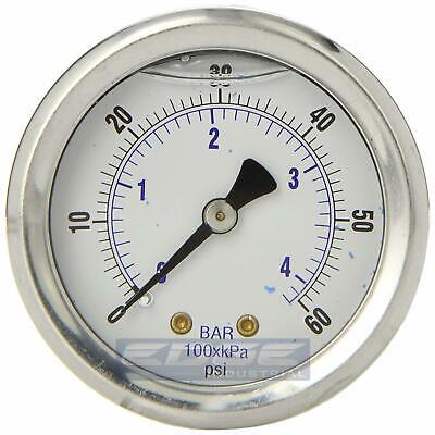 Liquid Filled Pressure Gauge 0-60 Psi 2 Face 14 Back Mount