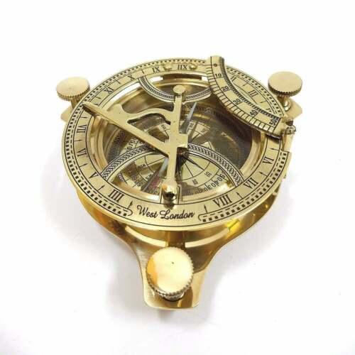 "3"" Handmade Sundial Nautical Ship Astrolabe Compass With Box Marine Working"