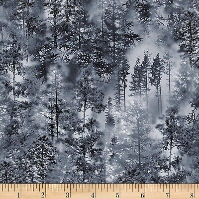 Halloween Fabric - Nature Gray Tree Forest Scene - Timeless Treasures - Halloween Forest Scene