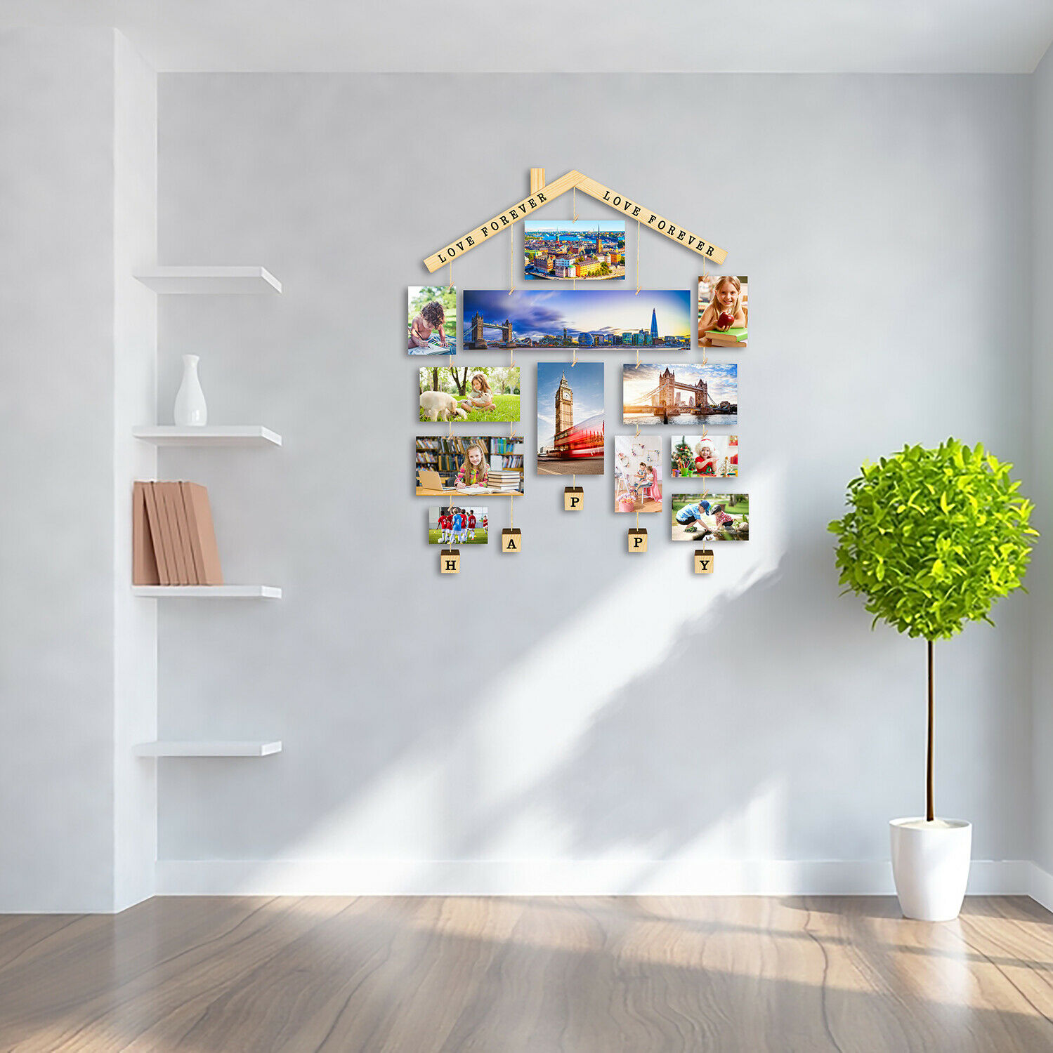 Wooden Picture Photo Collage Frame Wall Hanging Display Frames with 30 Clips