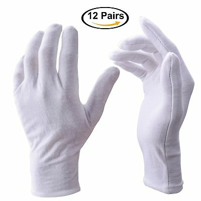 1-12pairs White Inspection Cotton Lisle Work Gloves Coin Jewelry Lightweight Pa