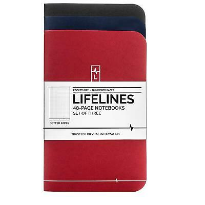 Lifelines Small Pocket Dotted Notebook 3-pack Bullet Journal Memos Lists Notes