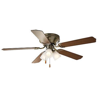 """52"""" Chapter Flush Mount Ceiling Fan, Aged Brass, 3 Light Hugger Model 10236"""