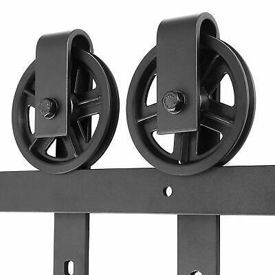 - 6.6ft Barn Door Hardware Big Wheel Slid Heavy Duty Single Rail Roller Track Kit