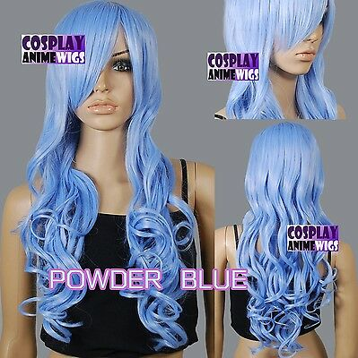 80cm Powder Blue Heat Styleable Curly Long Cosplay Wigs 967_MPP (Powdered Wigs)