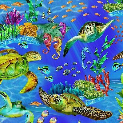 - Fabric Ocean Australian Sea Turtles on Big Blue Cotton by the 1/4 yard BIN