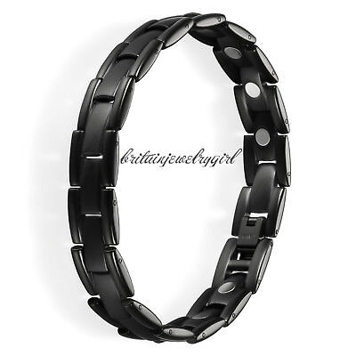 8 46 Inches Mens Black Titanium Steel Link Chain Magnetic Therapy Bracelet 12Mm