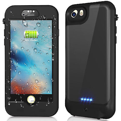 iPhone XS 8 7 6S Plus Waterproof Battery Charging Case Portable Power Bank Cover