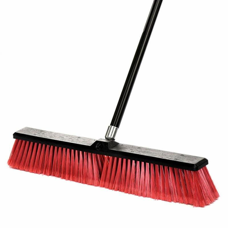 Alpine Industries 24 in Red Brush Smooth Surface Foam Grip Commercial Push Broom