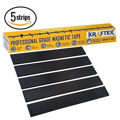 5 Pack Magnetic Tape Extra Strong Premium Grade Magnet Strips 3m Adhesive Back