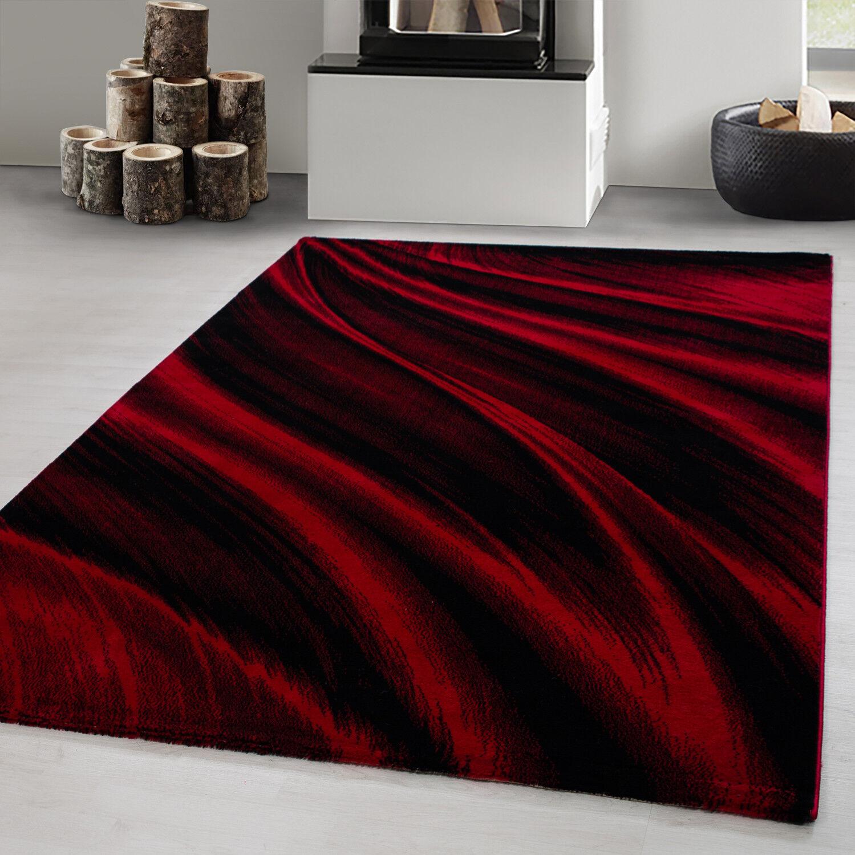 Teppich modern Designer Wohnzimmer Abstrakt Wellen Muster Schwarz Rot Oeko Tex