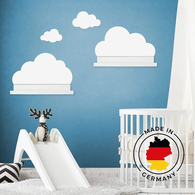 Wandtattoo Wolken für IKEA Mosslanda Regal 55 cm Bilderleiste in weiß