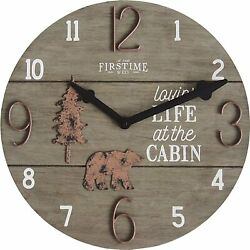 Cabin Bear Pine Lodge Wildlife Large 16 Round Wall Clock, Brown, Modern Rustic