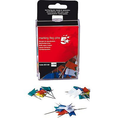 5 Star Office Marking Flag Pins Assorted Colour (Pack of 100) Map Board Pin