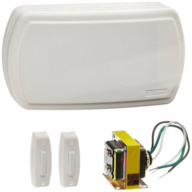 NuTone BK125LWH Chime Kit, 2 Lit Push-Buttons, Transformer