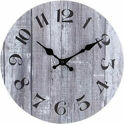Wall Clock 10 Gray Wooden Board Vintage Style Modern Shabby Chic Farmhouse