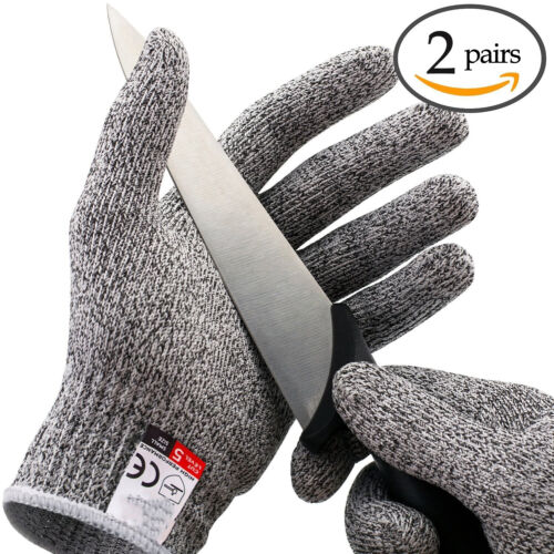 2Pairs Butcher Glove Cut Proof Stab Resistant Safety Gloves Kitchen L5 Protectio