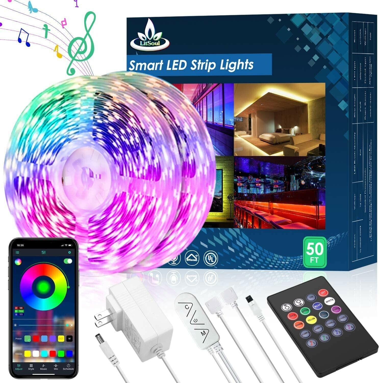 50FT LED Strip Lights,Music Sync LED lights for Bedroom Home