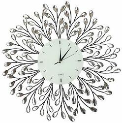 "Lulu Decor, 25"" Vine Decorative Metal Wall Clock, White Glass Lines Dial 9.5"""